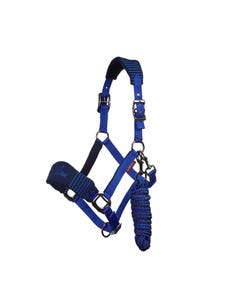 Le Mieux Vogue Fleece Headcollar & Rope Set Navy/Royal Blue