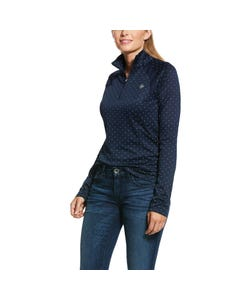 Ariat Womens Sunstopper 2.0 1/4 Zip - Navy Dot