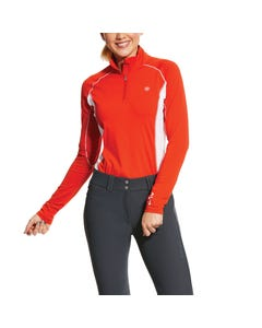 Ariat Womens Tri Factor 1/4 Zip - Red Clay