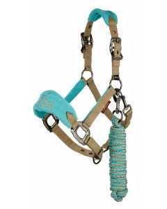 Le Mieux Mini Vogue Fleece Headcollar and Rope-Azure