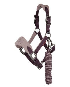 Le Mieux Mini Vogue Fleece Headcollar and Rope-Musk